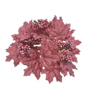 Blooming Autumn Maple Leaf & Berry Mini Wreath-Burgundy