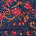 Demim Dark Wash Cotton Fabric-Multi Color Border Floral Embroidery