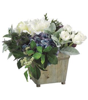 Hydrangeas, Tulips & Artichokes in Wood Container 14''-White & Green