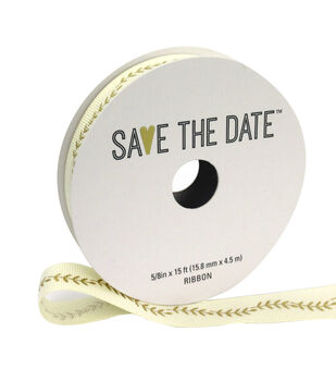 Save the Date Ribbon 5/8''x15'-Gold Ferns on Ivory
