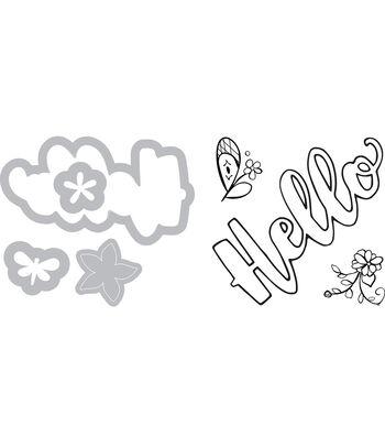 Sizzix Framelits Katelyn Lizardi Die & Stamp Set-Hello #2