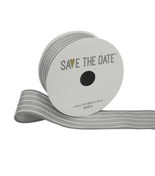 "Save the Date 1.5"" x 15ft Ribbon-Light Grey White Stripe"