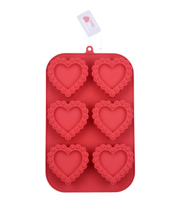 Valentine's Day 11''x7'' 6-cavity Silicone Shortcake Treat Mold-Hearts