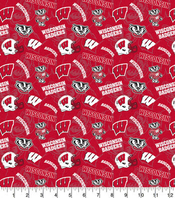 University of Wisconsin Badgers Cotton Fabric-Tone on Tone