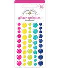 Doodlebug Design 45 pk Glitter Sprinkles Enamel Shapes-Hello Assortment
