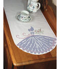 Fairway Stamped Cross Stitch Perle Edge Dresser Scarf Lady