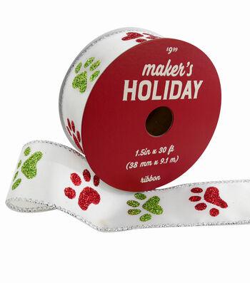 Maker's Holiday Ribbon 1.5''x30'-Red & Green Glitter Paw Print