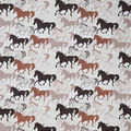 Novelty Cotton Fabric-Sketched Horses on White