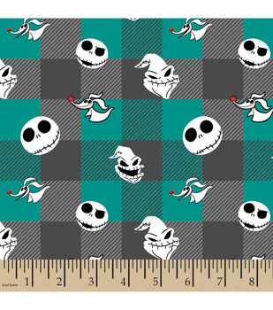 Nightmare Before Christmas Flannel Fabric-Tossed Buffalo Plaid