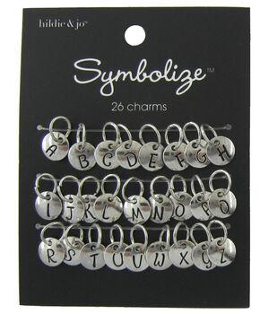 hildie & jo Symbolize 26 Pack Round Silver Charms-Black Alphabet
