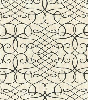 "Waverly Upholstery Fabric 54""-Calligraphy Swirl Ink"