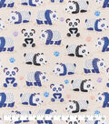 Snuggle Flannel Fabric-Sweet Panda with Hearts
