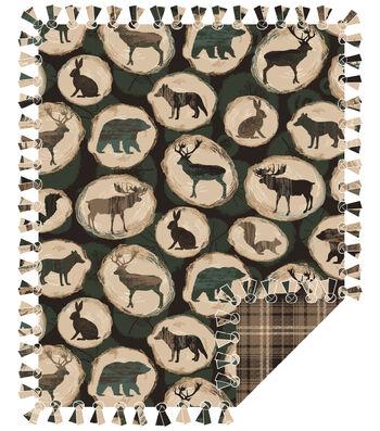 "No Sew Fleece Throw Kit 72""-Log Wilderness Shilouette"