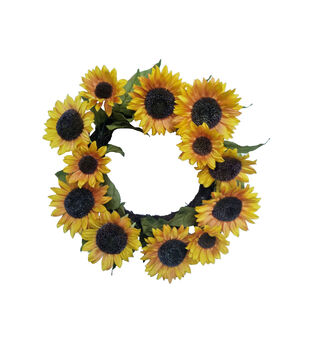 Blooming Autumn Water Resistant Sunflower Wreath-Yellow