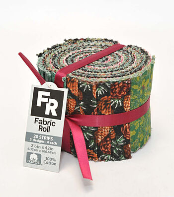 """Quilt Fabric Roll 2.5""""-Pinecone & Holly"""
