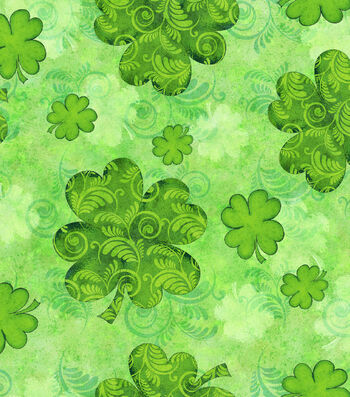St. Patrick's Day Fabric 43''-Shamrock Swirl