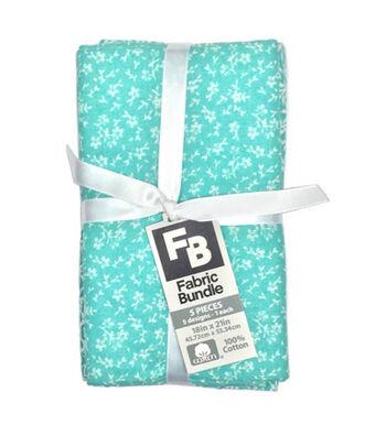 Fat Quarter Bundle Cotton Fabric 5-Pieces 18''-Floral on Turquoise