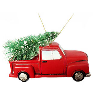 Handmade Holiday Christmas Truck Ornament with Lights & Tree-Red