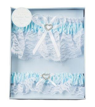 Darice 2ct Lace Garter Set With Rhinestone Heart-Blue