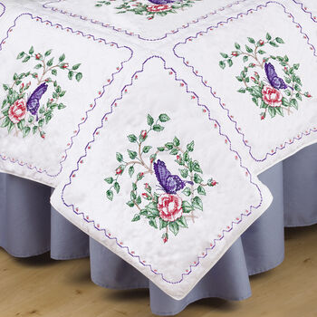 Tobin Stamped Cross Stitch White Quilt Blocks Butterfly Heart