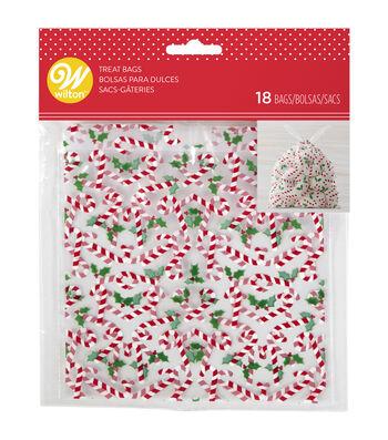 Wilton 18ct Drawstring Treat Bags-Candycane