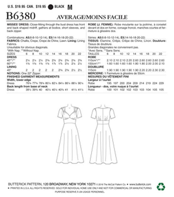 Butterick Pattern B6380 Misses Sweetheart Neckline Dress Size 6 14 Joann