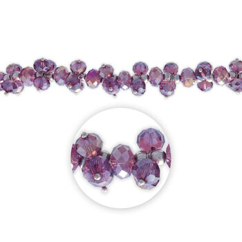 "Blue Moon Beads 7"" Crystal Strand, Dangles, Purple"