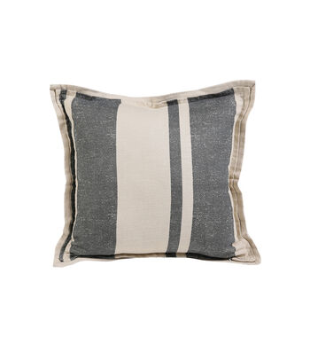 Hudson 43 Rustic Pillow-Gray Stripes