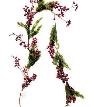 Handmade Holiday Christmas Cypress & Red Berry Garland