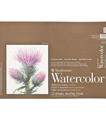 "Strathmore Watercolor Paper Pad 12""X18""-140lb Cold Press 12 Sheets"