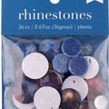 hildie & jo 36 pk Assorted Flat Back Rhinestones-Blue, Purple & Yellow