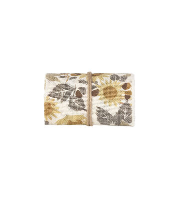 Simply Autumn Burlap Roll 5''x15'-Sunflowers on Ivory
