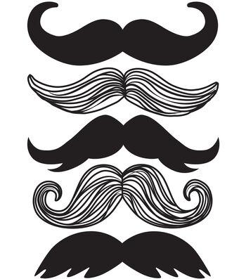 Wall Pops Mustache Wall Art Decal Kit, 5 Piece Set