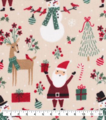 Anti-Pill Plush Fleece Fabric-Jolly Santa and Reindeer