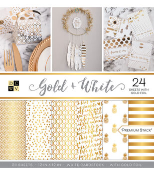 "Park Lane 24 Pack 12""x12"" Premium Printed Cardstock Stack-Gold & White"
