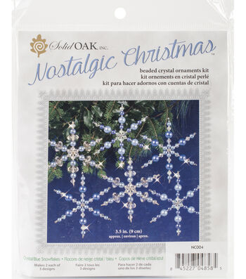 Solid Oak Nostalgic Christmas Beaded Crystal Snowflake Ornament Kit-Blue