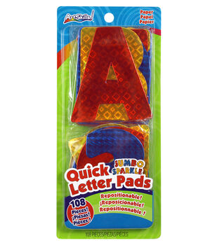 Quick Letter/Number Pads Repositionable With Centering Ruler-Jumbo Holographic Sparkle 4""
