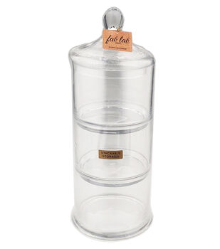 Fab Lab Craft 17'' 3-part Glass Container Tower with Lid-Clear