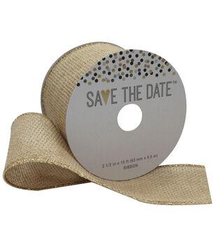 Save the Date 2.5'' X 15' Ribbon-Glitter Edge Burlap