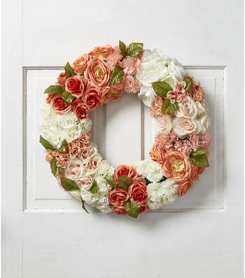 Fresh Picked Spring 22'' All Over Floral Wreath-Peach & Cream