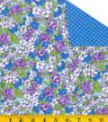 Made In America Double Faced Quilt - Flower Patch Blue