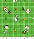 St. Patrick\u0027s Day Cotton Fabric -Snoopy & Friends Plaid