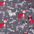 Blizzard Fleece Fabric-Black, Red & White Big Dogs
