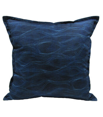 "Patio Oasis 17""x17"" Navy Waves Outdoor Pillow"