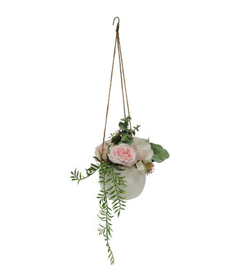 Fresh Picked Spring 22'' Hanging Potted Arrangement