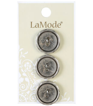 LaMode 2 Hole Antique Silver Metal Buttons 20mm