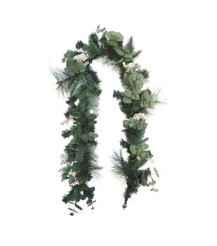 Handmade Holiday Christmas 66'' Greenery & White Berry Garland