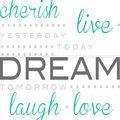 Wall Pops Cherish Dream Live Wall Quote Decals, 21\u0022 x 18\u0022