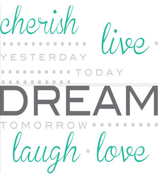 """Wall Pops Cherish Dream Live Wall Quote Decals, 21"""" x 18"""""""