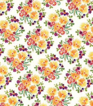 Premium Cotton Print Fabric 43''-Packed Floral Bunches